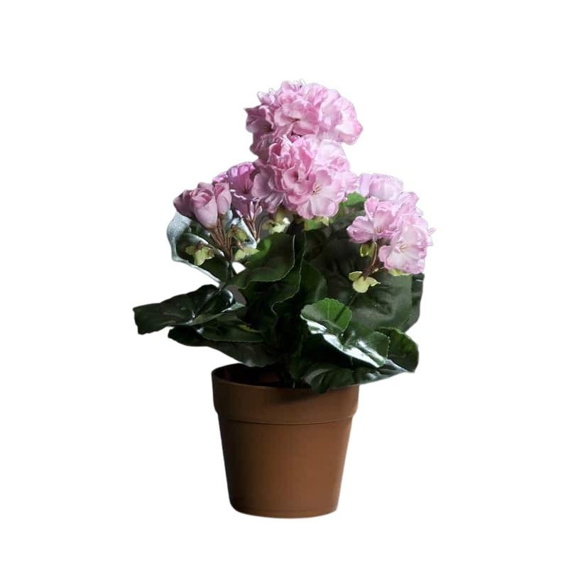 Sztuczna pelargonia kremowa różowa wysoka jakość 28 cm