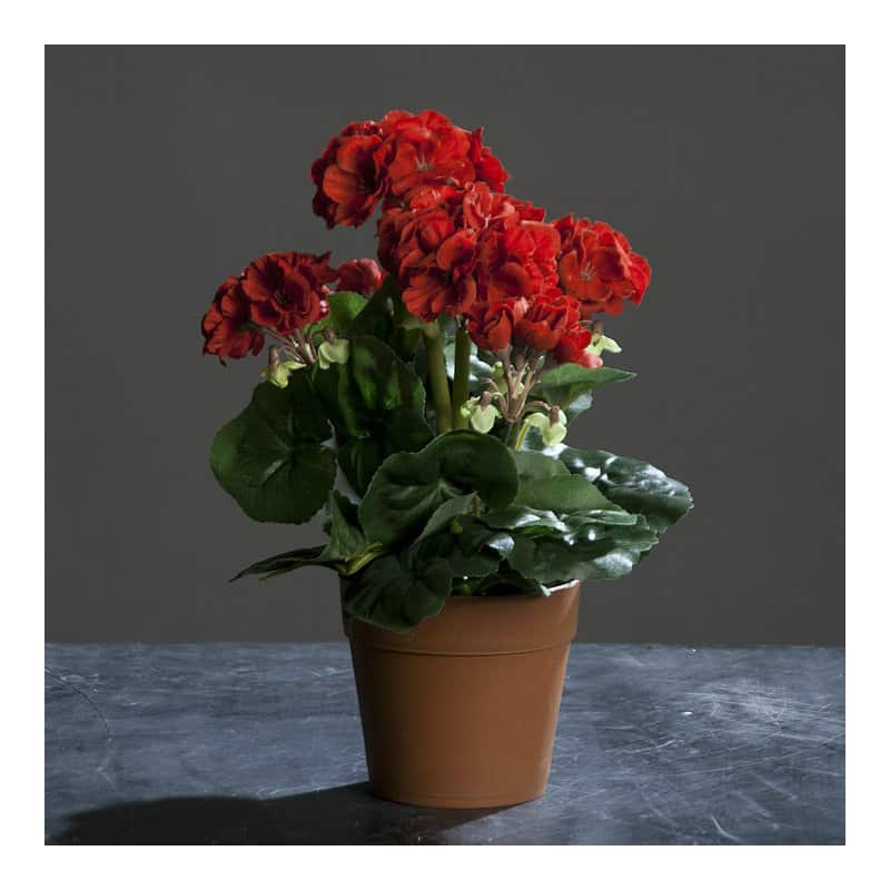 Sztuczna pelargonia czerwona wysoka jakość 28 cm