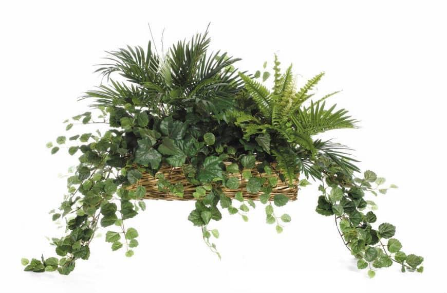 aranżacja z roślin sztucznych zielona
