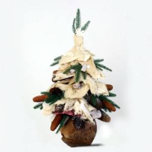 Stroik Bożonarodzeniowy - Choinka z Naturalnymi Dodatkami -  65 cm