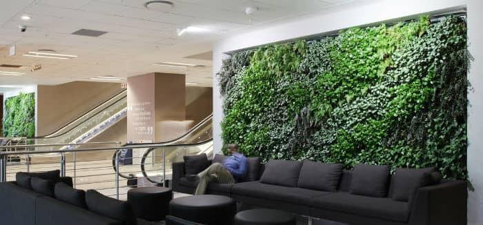 zielone ściany z roślin sztucznych w galerii