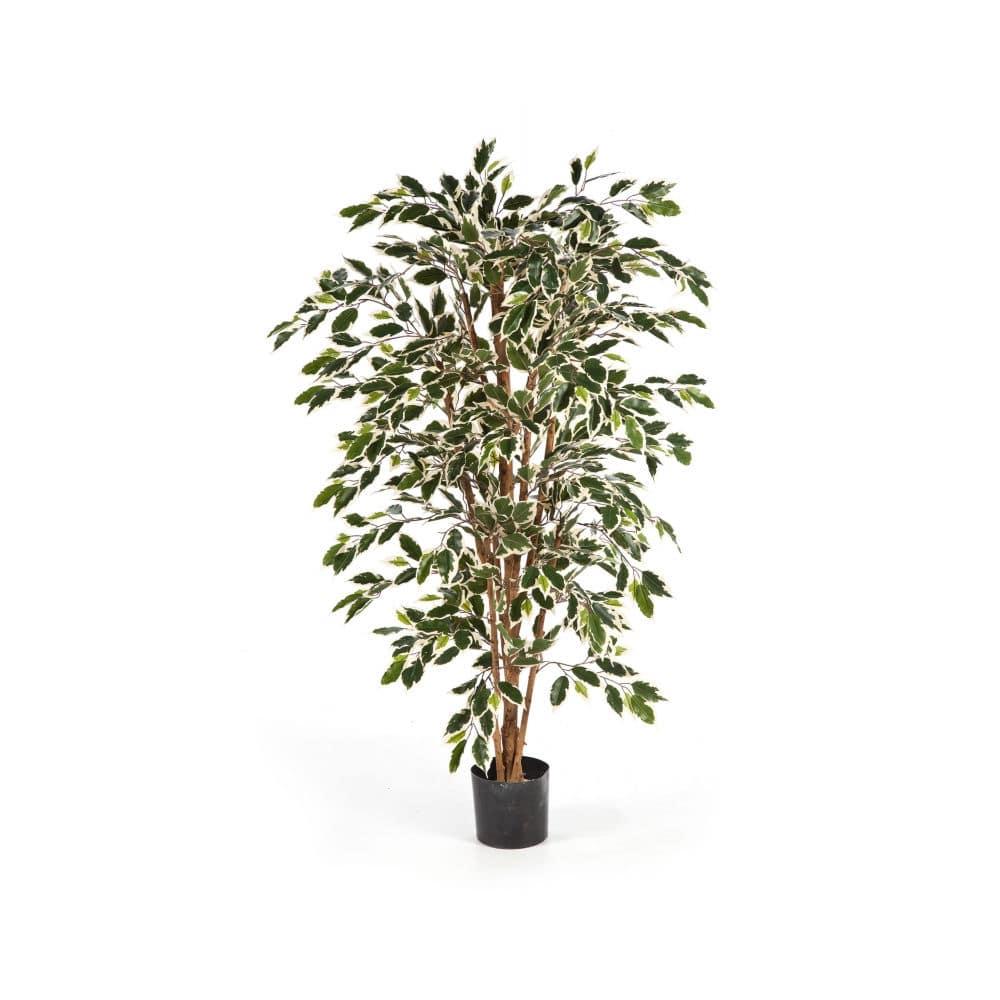 sztuczne drzewko fikus biało-zielony
