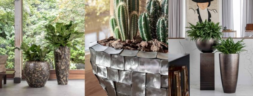 trzy aranżacje z roślinnością sztuczną w najwyższej jakości donicach dekoracyjnych
