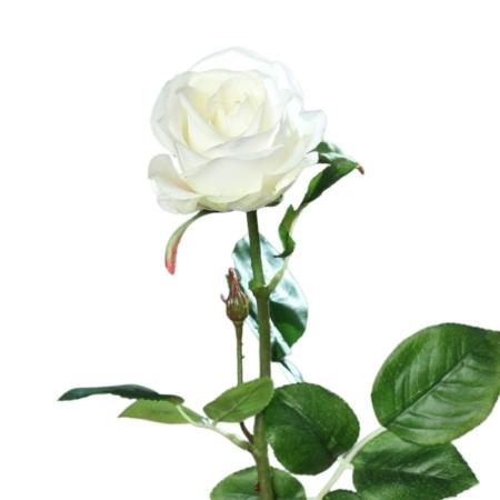 róża 66 cm naturalna w dotyku biała