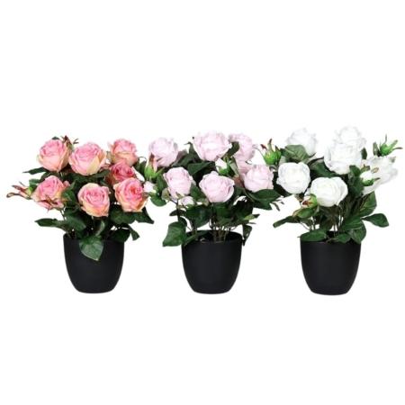 sztuczna róża w doniczce 30 cm