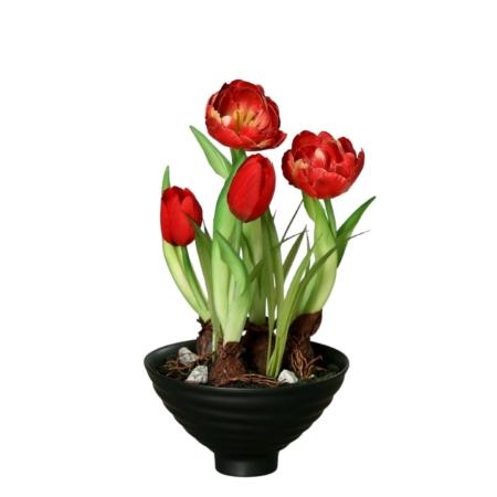 sztuczne tulipany w doniczce 22 cm